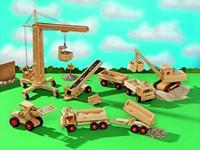 Fagus  houten voertuigen Bouwkraan 75cm-3