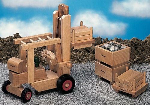 Fagus  houten speelvoertuig heftruck 29cm-2