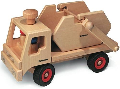 Fagus  houten speelvoertuig vrachtauto met containe-1