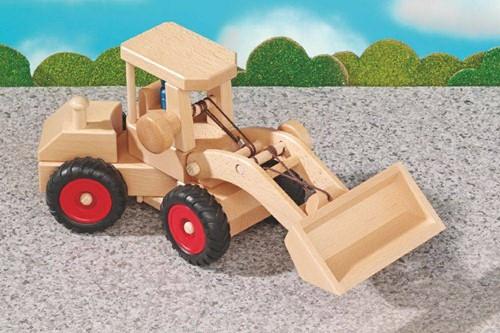 Fagus  houten speelvoertuig graafmachine 40cm-2