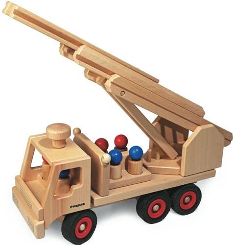 Fagus  houten voertuig Brandweerauto 40cm-3