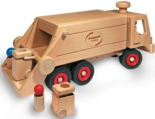Fagus  houten speelvoertuig vuilniswagen 43cm-2