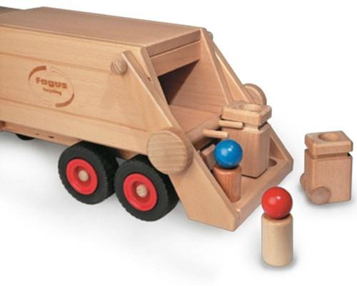 Fagus  houten speelvoertuig vuilniswagen 43cm-3