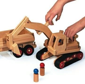Fagus  houten speelvoertuig graafmachine 46cm-2