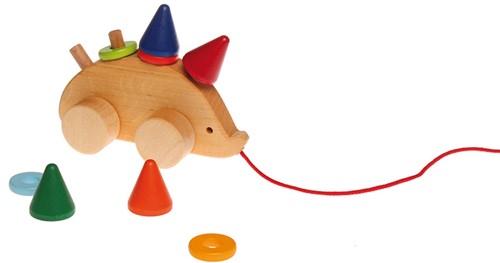 Grimm's houten trekfiguur egel -2