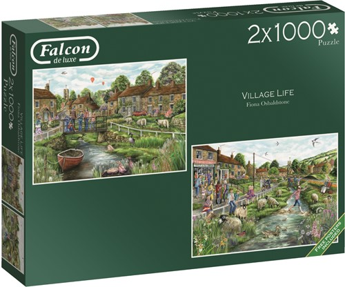 Jumbo puzzel Falcon Village Life - 2x1000 stukjes