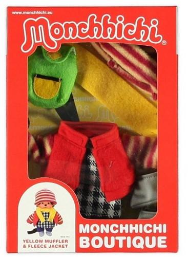 Monchhichi  knuffelpop kleren Boutique B Fleecejack rood met winterse accessoires-2