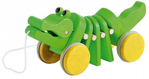 Plan Toys  houten trekfiguur pull a long krokodil
