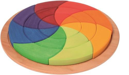 Grimm's houten puzzel cirkel gekleurd groot - 24 stukjes