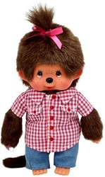 Monchhichi knuffelpop Meisje Roze geruite blouse met spijkerbroek 20 cm
