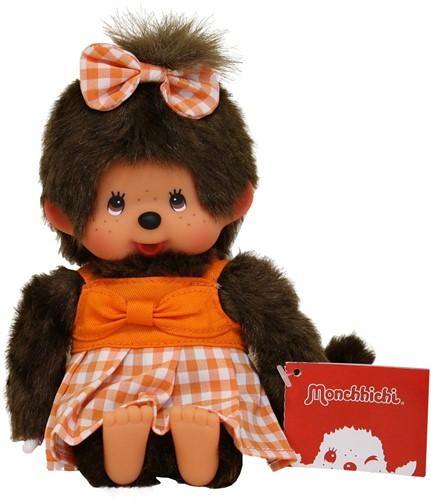 Monchhichi aapje Meisje Oranje geruite jurk 20 cm-2