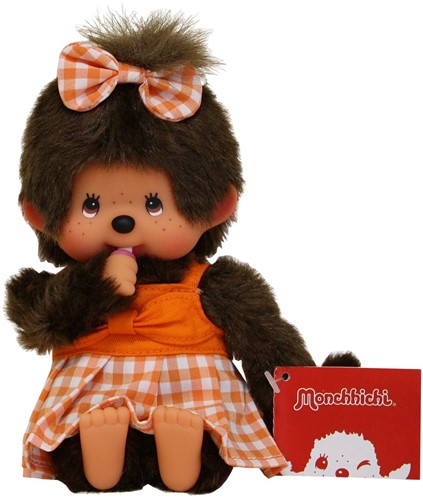 Monchhichi aapje Meisje Oranje geruite jurk 20 cm-3