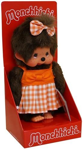 Monchhichi aapje Meisje Oranje geruite jurk 20 cm-1