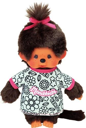 MONCHHICHI Knuffelpop Meisje Coloring T-shirt met 4 kleurstiften - 20 cm