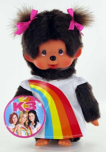 Monchhichi knuffelpop Meisje K3 Regenboogjurk 20cm