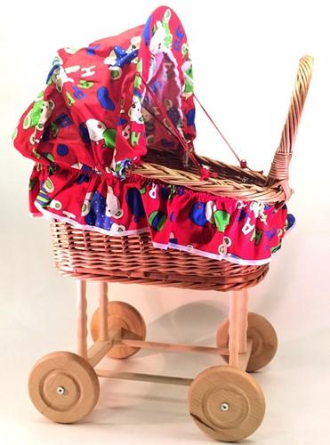 Planet Happy rieten poppenwagen met bekleding
