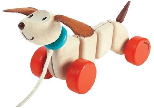 Plan Toys houten trekfiguur Happy puppy