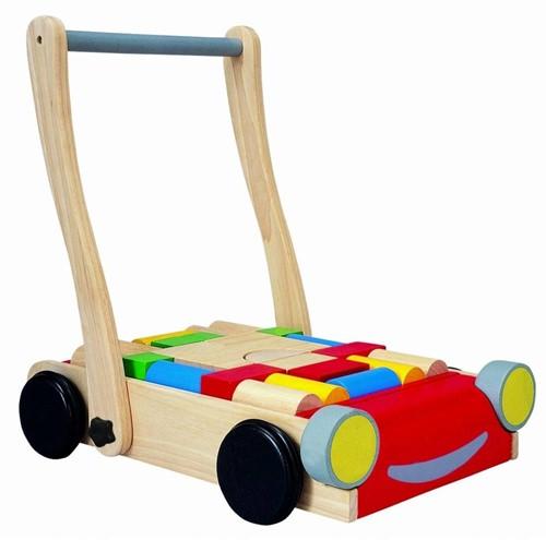 Plan Toys houten loopwagen Auto met bouwblokken