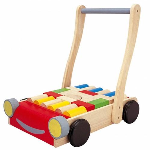 Plan Toys houten loopwagen Auto met bouwblokken-2