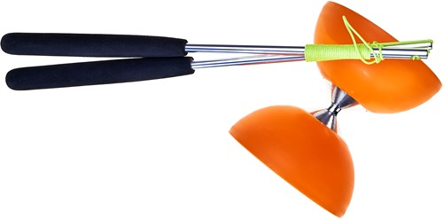 Acrobat - Set 105 Rubber Diabolo Orange + aluminum hand sticks