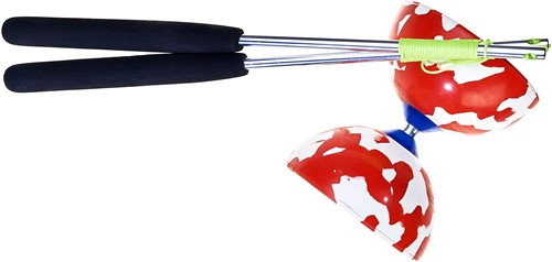 Set Acrobat bicolor 100 Diabolo red/white + aluminum hand sticks