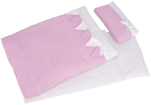Goki Bedding set for dolls, pink stripes