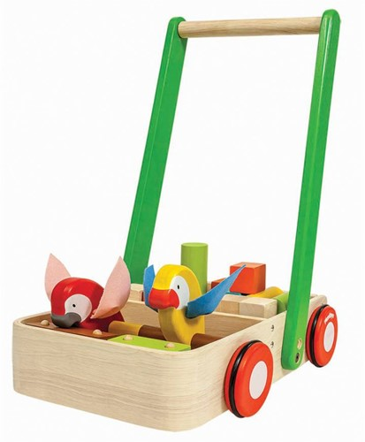 Plan Toys houten loopwagen papegaaien