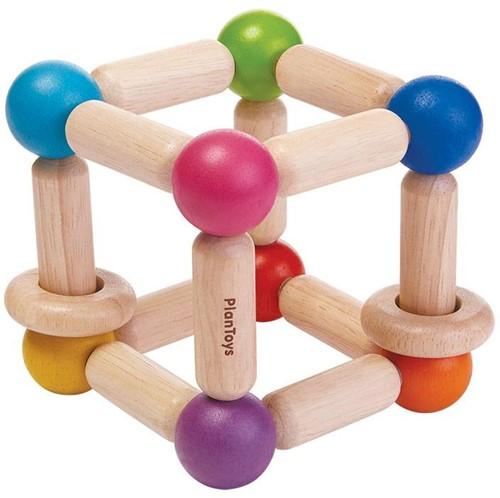 Plan Toys houten rammelaar vierkant
