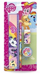 Disney My Little Pony School Set 4 stuks: 1 lat 20 cm, 1 potlood, 1 gom, 1 slijper
