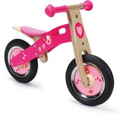 Scratch houten loopfiets roze Love Birds