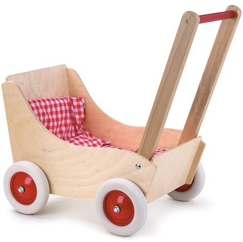 Egmont Toys Poppenwagen hout 53x33x52 cm rood/wit geruit. 3+