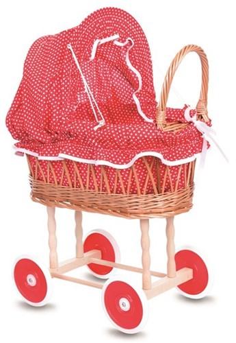 Egmont Toys Poppenwagen riet 44x28x58 cm, rood/wit stippenbekleding. 3+