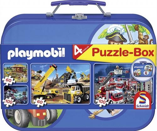 Schmidt legpuzzel Playmobil box, 2x60, 2x100 stukjes
