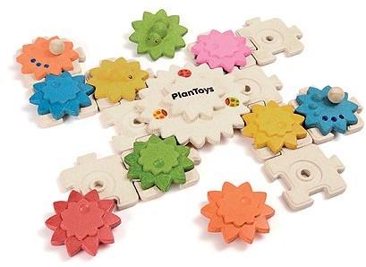 Plan Toys  houten leerspel Tandwielen en puzzels deluxe
