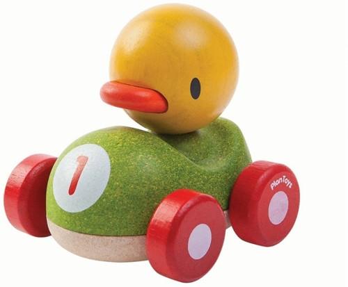 Plan Toys houten speelvoertuig race eend