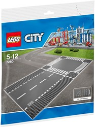 Lego  City set Rechte wegenplaten en kruising 7280