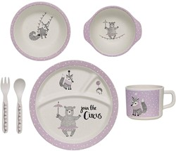 Bloomingville servies, Circus Serving Set, Rose, Bamboo