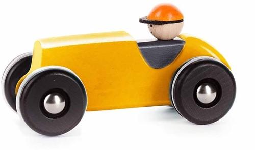 Bajo Houten Retro Racewagen, Geel