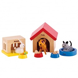 Hape houten poppenhuis meubels Family Pets