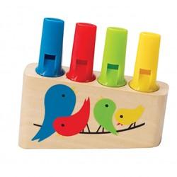Hape houten muziekinstrument Panfluit regenboog
