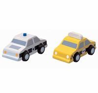 Plan Toys Plan City houten auto's Taxi & Politieauto