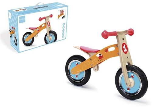 Scratch houten loopfiets Racende Vliegen