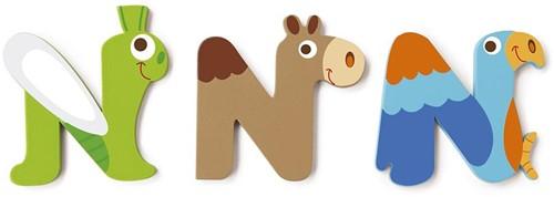 Scratch Deco: Houten Letter 'N'