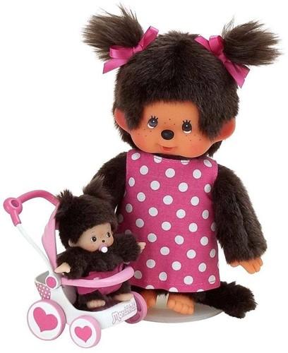Monchhichi  knuffelpop Moeder met buggy - 20 cm