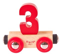 BigJigs Rail Name Number 3 , Cijferwagon 3