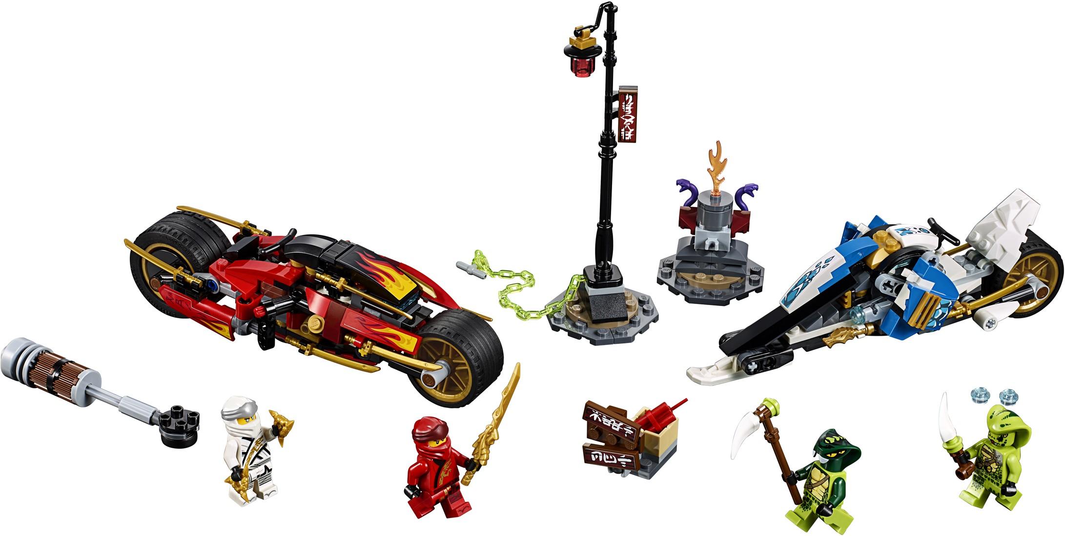 LEGO Ninjago zwaardmotor van Kai en sneeuwscooter van Zane 70667