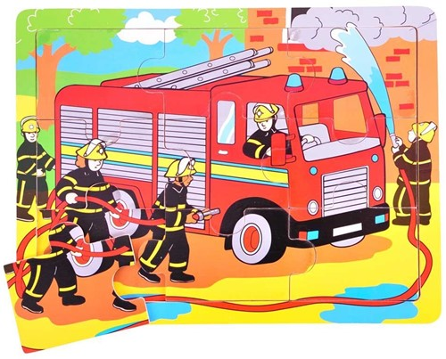 Bigjigs 9 Piece Tray Puzzle - Fire Engine