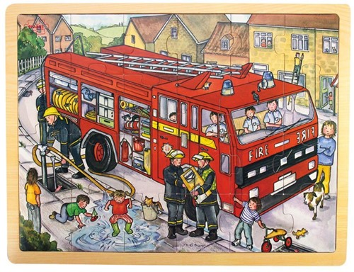 Bigjigs 24 Piece Puzzle Tray - Fire Engine