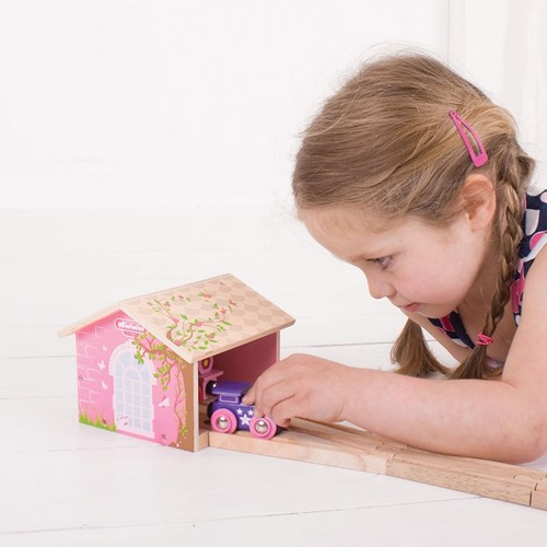 Bigjigs Pink Double Engine Shed-2