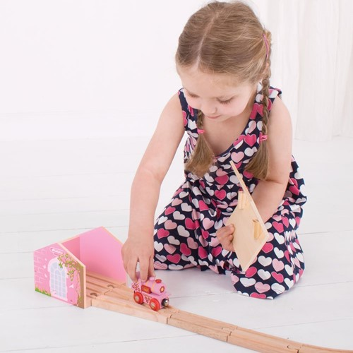 Bigjigs Pink Double Engine Shed-3